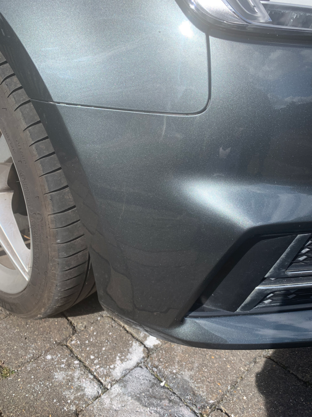scuff marks on bumper after repair