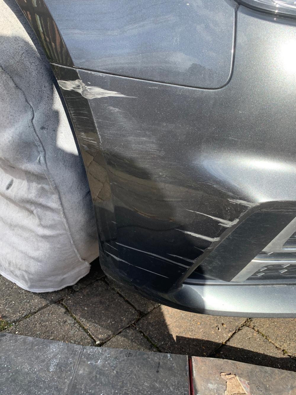 scuff marks on bumper before repair