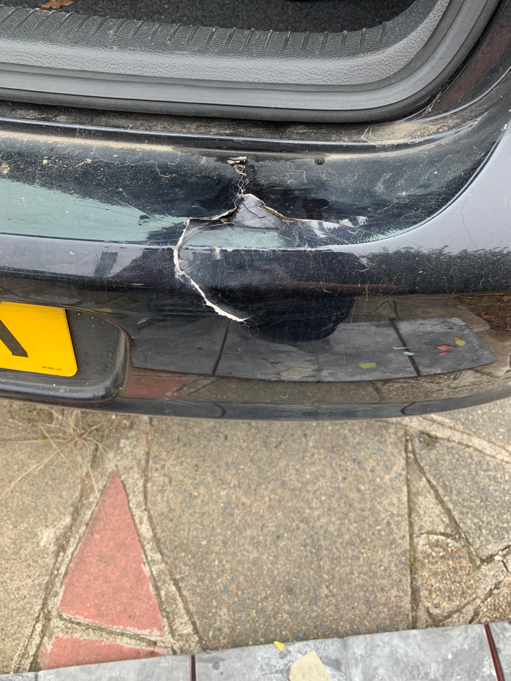 bumper damage to plastic before